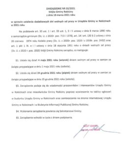 Zarządzenie nr 32/2021 w sprawie ustalenia dodatkowych dni wolnych od pracy w Urzędzie Gminy w Rokicinach