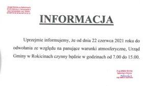 Godziny otwarcia Urzędu Gminy w Rokicinach